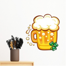 Four Leaf Clover Yellow Beer Ireland St.Patrick's Day Removable Wall Sticker Art Decals Mural DIY Wallpaper for Room Decal