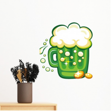 Four Leaf Clover Beer Ireland St.Patrick's Day Removable Wall Sticker Art Decals Mural DIY Wallpaper for Room Decal