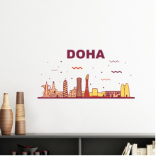 Hand-painted City Landmark Building Doha Culture Elements Removable Wall Sticker Art Decals Mural DIY Wallpaper for Room Decal