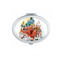 Watercolor City Russia Architecture Moscow Saint Basil's Cathedral Oval Compact Makeup Pocket Mirror Portable Cute Small Hand Mirrors Gift