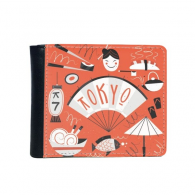 Sushi Geisha Japan Tokyo Cultural Japanese Style Flip Bifold Faux Leather Wallet  Multi-Function Card Purse Gift