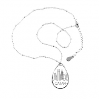 Simple-line Drawing Hand-painted City Qatar Landmark Teardrop Shape Pendant Necklace Jewelry With Chain Decoration Gift