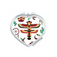 Traditional American Dream Catcher Pottery Indian Totem Sacrifice Heart Compact Makeup Pocket Mirror Portable Cute Small Hand Mirrors Gift