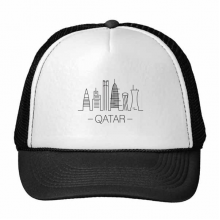 Simple-line Drawing Hand-painted City Qatar Landmark Trucker Hat Baseball Cap Nylon Mesh Hat Cool Children Hat Adjustable Cap Gift