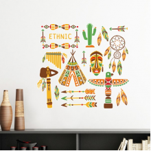 Totem Worship Native American Indian Dream Catcher Removable Wall Sticker Art Decals Mural DIY Wallpaper for Room Decal