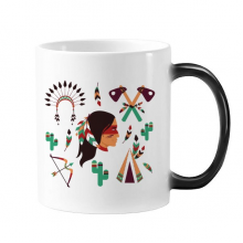 Indian Feather Headdress Traditional American Primitive Tribe Morphing Heat Sensitive Changing Color Mug Cup Gift Milk Coffee With Handles 350 ml