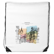 Watercolor City Germany Hannover Architectural Landscape Drawstring Backpack Shopping Sports Bags Gift