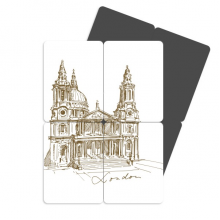 St.Paul's Cathedral Britain England London Iandmark Pattern Refrigerator Magnet Puzzle Home Decal Magnetic Stickers (set of 4)
