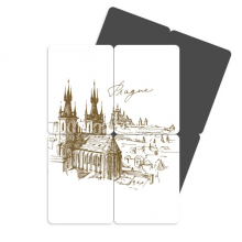 Prague Square Czech Republic Square Landmark Pattern Refrigerator Magnet Puzzle Home Decal Magnetic Stickers (set of 4)