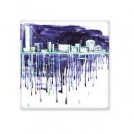 Night Starry Sky Modern City Watercolor City Illustration Ceramic Bisque Tiles for Decorating Bathroom Decor Kitchen Ceramic Tiles Wall Tiles
