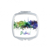Dubai The United Arab Emirates Country City Watercolor Illustration Square Compact Makeup Pocket Mirror Portable Cute Small Hand Mirrors Gift
