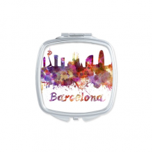 Barcelona Spain Country City Watercolor Illustration Square Compact Makeup Pocket Mirror Portable Cute Small Hand Mirrors Gift