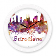 Barcelona Spain Country City Watercolor Illustration Silent Non-ticking Round Wall Decorative Clock Battery-operated Clocks Gift Home Decal