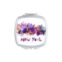 New York America Country City Watercolor Illustration Square Compact Makeup Pocket Mirror Portable Cute Small Hand Mirrors Gift