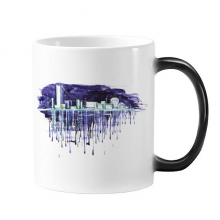 Night Starry Sky Modern City Watercolor City Illustration Morphing Heat Sensitive Changing Color Mug Cup Gift Milk Coffee With Handles 350 ml