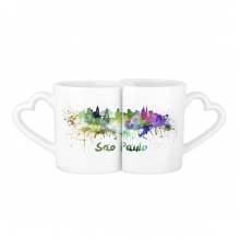 Sao Paula Brazil Country City Watercolor Illustration Lovers' Mug Lover Mugs Set White Pottery Ceramic Cup Gift Milk Coffee Cup with Handles