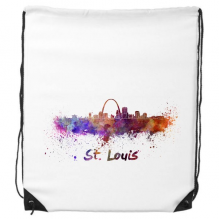 St.Louis America Country City Watercolor Illustration Drawstring Backpack Shopping Sports Bags Gift