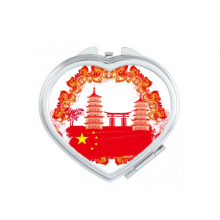 China Red National Flag Tower Lanttern Gate Chinese Heart Compact Makeup Pocket Mirror Portable Cute Small Hand Mirrors Gift