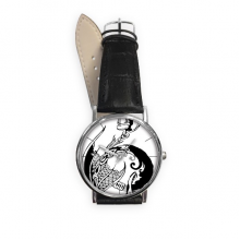 Dragon Line Painting China Chinese Culture Traditional Art Loong Quartz Analog Wrist Business Casual Watch with Stainless Steel Case Gift