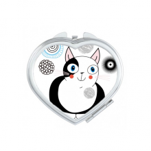 Protect Animal Pet Lover Cartoon Cute Fat Cat Illustration Heart Compact Makeup Pocket Mirror Portable Cute Small Hand Mirrors Gift