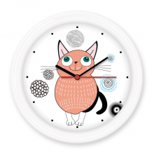 Protect Animal Cartoon Cute Pink Smiling Cat Illustration Silent Non-ticking Round Wall Decorative Clock Battery-operated Clocks Gift Home Decal
