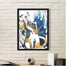 Three Eyes Cat Watercolor Protect Animal Pet Lover Simple Picture Frame Art Prints of Paintings Home Wall Decal