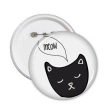 Black Cat Head Meow Simple Line-drawing Protect Animal Round Pins Badge Button Clothing Decoration Gift 5pcs