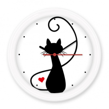 Mewing Heart-shape Cat Figure Sihouette Protect Animal Pet Lover Silent Non-ticking Round Wall Decorative Clock Battery-operated Clocks Gift Home Decal