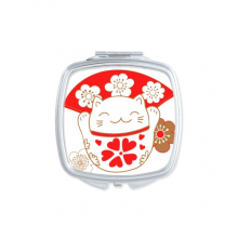 Cherry Blossoms Fat Lucky Fortune Cat Fan Japan Culture Square Compact Makeup Pocket Mirror Portable Cute Small Hand Mirrors Gift