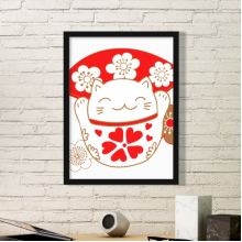 Cherry Blossoms Fat Lucky Fortune Cat Fan Japan Culture Simple Picture Frame Art Prints of Paintings Home Wall Decal