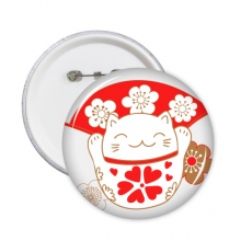 Cherry Blossoms Fat Lucky Fortune Cat Fan Japan Culture Round Pins Badge Button Clothing Decoration Gift 5pcs