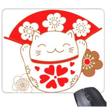 Cherry Blossoms Fat Lucky Fortune Cat Fan Japan Culture Mouse Pad Non-Slip Rubber Mousepad Game Office