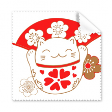 Cherry Blossoms Fat Lucky Fortune Cat Fan Japan Culture Glasses Cloth Cleaning Cloth Gift Phone Screen Cleaner 5pcs