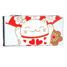 Cherry Blossoms Fat Lucky Fortune Cat Fan Japan Culture Multi-Card Faux Leather Rectangle Wallet Card Purse Gift