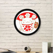 Cherry Blossoms Fat Lucky Fortune Cat Fan Japan Culture Round Simple Picture Frame Art Prints of Paintings Home Wall Decal