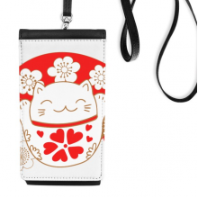 Cherry Blossoms Fat Lucky Fortune Cat Fan Japan Culture Faux Leather Smartphone Hanging Purse Black Phone Wallet Gift
