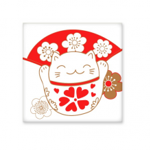 Cherry Blossoms Fat Lucky Fortune Cat Fan Japan Culture Ceramic Bisque Tiles for Decorating Bathroom Decor Kitchen Ceramic Tiles Wall Tiles