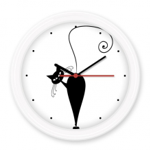 Black Cat Come Back Halloween Animal Art Silhouette Silent Non-ticking Round Wall Decorative Clock Battery-operated Clocks Gift Home Decal