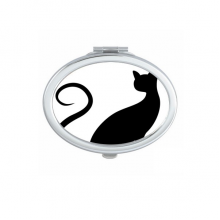 Elegant Black Cat Animal Art Outline Protect Animal Oval Compact Makeup Pocket Mirror Portable Cute Small Hand Mirrors Gift