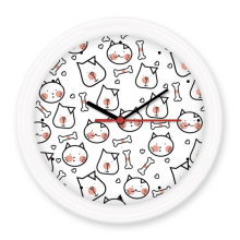 Cat Dog Bone Simple Line-drawing Protect Animal Pet Lover Silent Non-ticking Round Wall Decorative Clock Battery-operated Clocks Gift Home Decal