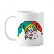 Foolscap I'm Fine White Cat Protect Animal Pet Lover Classic Mug White Pottery Ceramic Cup Gift Milk Coffee With Handles 350 ml