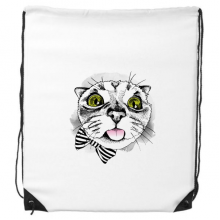 Tougue Bow White Cat Protect Animal Pet Lover Drawstring Backpack Shopping Sports Bags Gift