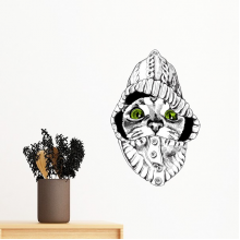Sweater White Cat Head Protect Animal Pet Lover Removable Wall Sticker Art Decals Mural DIY Wallpaper for Room Decal