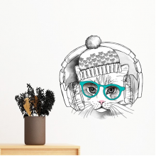 Headset Woolen Hat White Cat Protect Animal Pet Lover Removable Wall Sticker Art Decals Mural DIY Wallpaper for Room Decal
