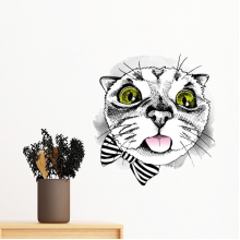 Tougue Bow White Cat Protect Animal Pet Lover Removable Wall Sticker Art Decals Mural DIY Wallpaper for Room Decal