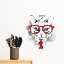 Bussiness Cat Head Protect Animal Pet Lover Removable Wall Sticker Art Decals Mural DIY Wallpaper for Room Decal