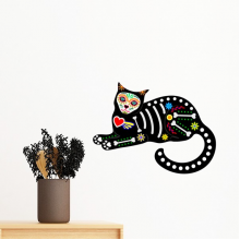 Sit Black Cat Bone Heart Halloween Terror Atmosphere Removable Wall Sticker Art Decals Mural DIY Wallpaper for Room Decal