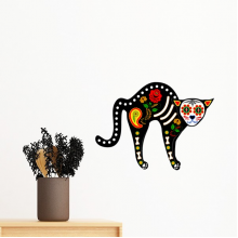 Halloween Terror Atmosphere Black Cat Bone Heart Removable Wall Sticker Art Decals Mural DIY Wallpaper for Room Decal