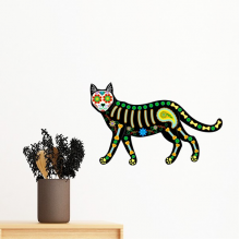 Bone Heart Black Cat Halloween Terror Atmosphere Removable Wall Sticker Art Decals Mural DIY Wallpaper for Room Decal