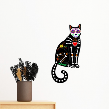 Black Cat Bone Heart Halloween Terror Atmosphere Removable Wall Sticker Art Decals Mural DIY Wallpaper for Room Decal